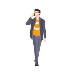 Guy In Jacket And Orange T-Shirt Speaking On The vector image