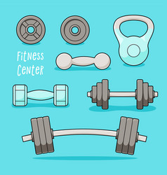gym barbells and dumbbells set vector image