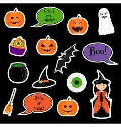 Halloween stickers patches badges vector