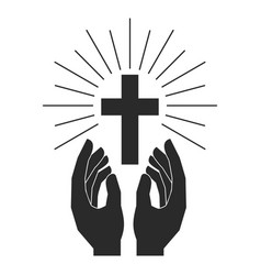 hands with shining holy cross design element vector image