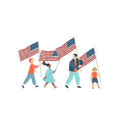 Image a group children with usa flags vector
