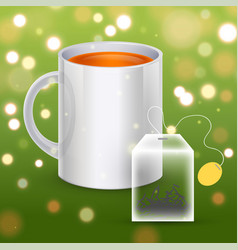 image of a tea bag with the cup vector image