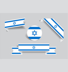 Israeli flag stickers and labels vector