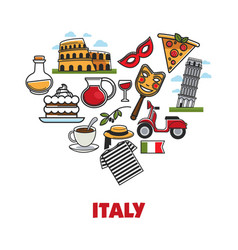 italy promo poster with national symbols set in vector image