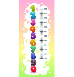 kids height chart with funny cartoon colorful vector image