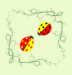 Ladybird in frame sign vector
