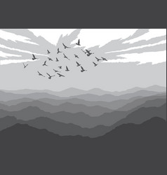 Landscape with silhouettes of birds over mountains vector