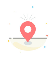 Location pin camping holiday map flat color icon vector