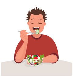 man is eating a salad vegetarian concept vector image