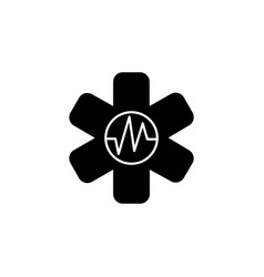 medical ambulance icon black on white background vector image