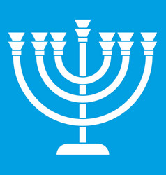 Menorah icon white vector