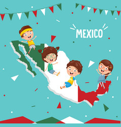 mexico flag and kids vector image