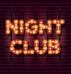 Night club retro banner template with glowing vector
