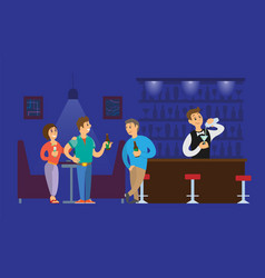 Nightclub bartender pouring alcoholic drinks glass vector