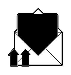 open message envelope with with up arrows icon vector image