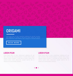 Origami concept with thin line icons vector