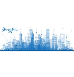 Outline shanghai skyline with blue buildings vector
