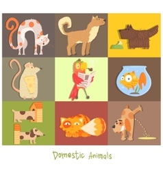 Pets Cats Dogs and their Actions Emotions vector image