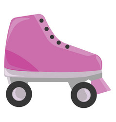 Pink roller skate on white background vector