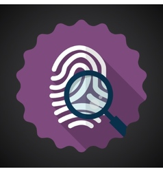 Police Fingerprint with Zoomer Flat icon vector
