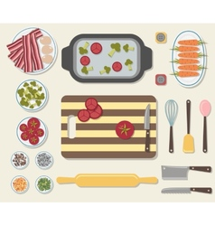 Process of cooking delicious food vector image