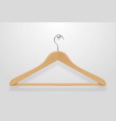 Realistic clothes coat wooden hanger close vector