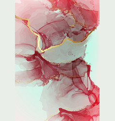 Red watercolor shapes alcohol ink modern blending vector