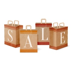 Sale paper shopping bags vector image