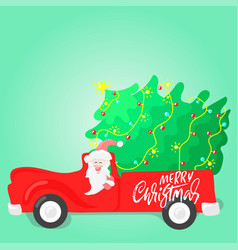 santa claus is carrying a christmas tree vector image