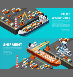 Sea transportation horizontal sea freight vector