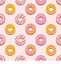 Seamless Pattern Different Style Strawberry Donuts vector