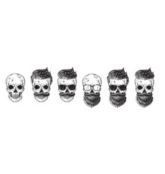 Set bearded men faces hipsters with different vector