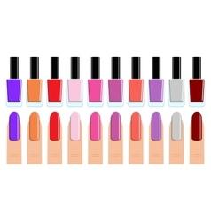 set nail polish and nails vector image