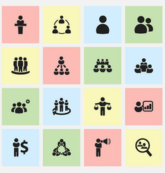 Set of 16 editable community icons includes vector