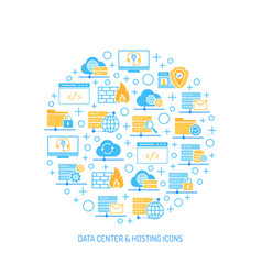 set of data center hosting and cloud services vector image