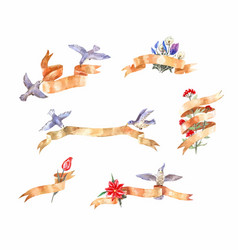 set watercolor vintage ribbons with birds and vector image