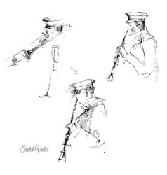 Sketch of flutist vector image