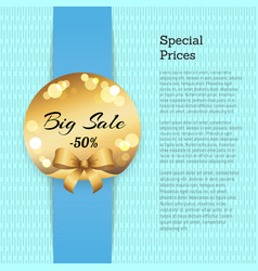 special price poster with sale 50 off golden label vector image