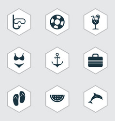 Sun icons set collection of tube baggage bikini vector