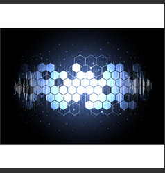 Technological digital circuit illuminated hexagon vector