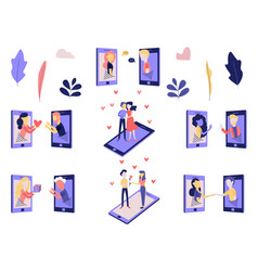 telephone love and romantic relations on distance vector image