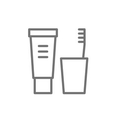 Toothpaste and brush dental hygiene line icon vector