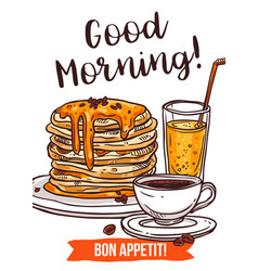 traditional breakfast hand drawn poster vector image