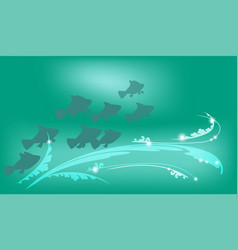 underwater background with fish vector image