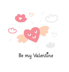valentines day with flying heart vector image