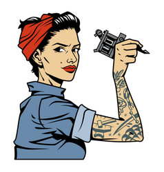 Vintage attractive tattooist pin up girl vector