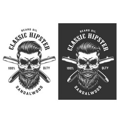 Vintage monochrome hipster skull label vector