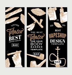 Vintage tobacco vertical banners vector