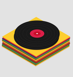 vinyl in isometric style flat vector image