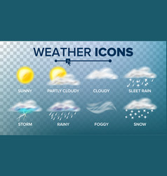 Weather icons set sunny cloudy storm vector